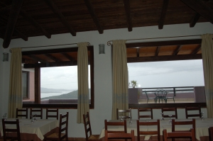 Some of the windows in the restaurant room